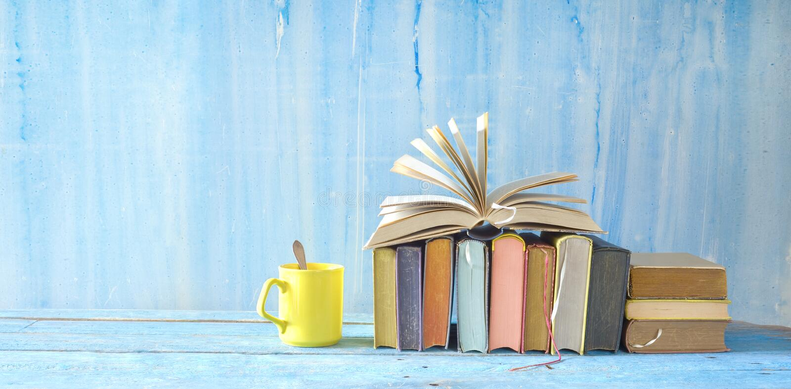 Open Book and row of multicolored hardback books, reading education, literature,book fair concept. Panoramic format, good copy stock photography
