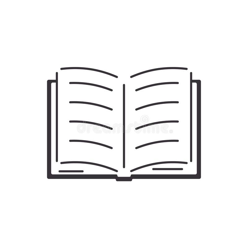 Open book with sheets and text. Flat style icon. School textbook, online learning, e-book royalty free illustration