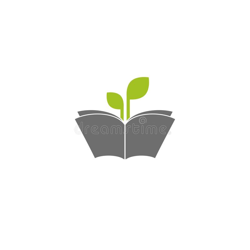 Open book silhouette with green sprigs and leaves. Flat icon isolated on white background. Reading icon. Vector illustration. Study pictogram. Power of stock illustration