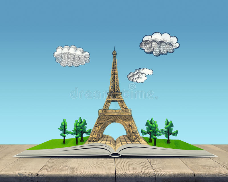 Open book with a sketch of the Eiffel Tower stock illustration