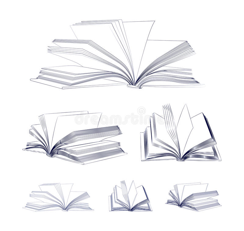 Open book sketch set. Isolated on white background stock illustration