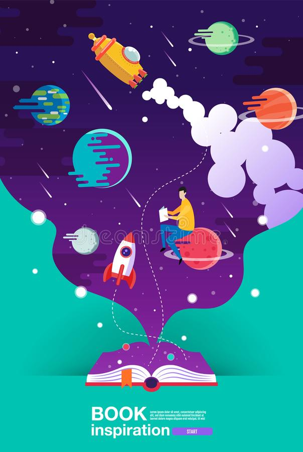 Open book, space background, school, reading and learning , Imagination and inspiration picture. Fantasy and creative ,Vector flat stock illustration