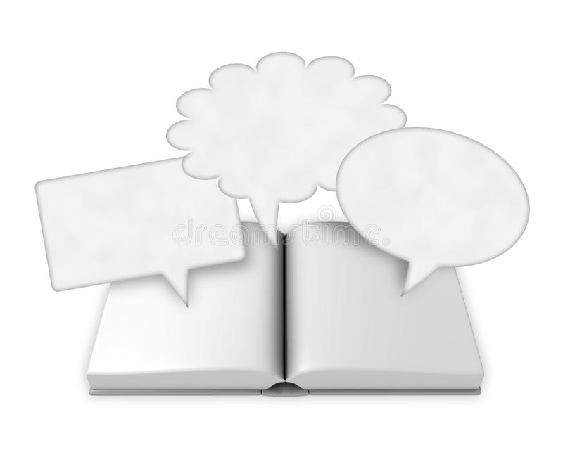 open book with speech bubbles stock illustration