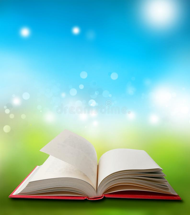 Open book in spring royalty free stock image