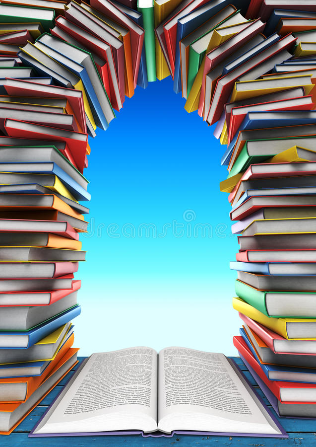 Open book and stack of books in the form of windows, doors, frames in the background of the sky royalty free illustration