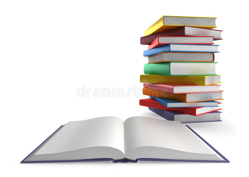Open book and a stack of books vector illustration