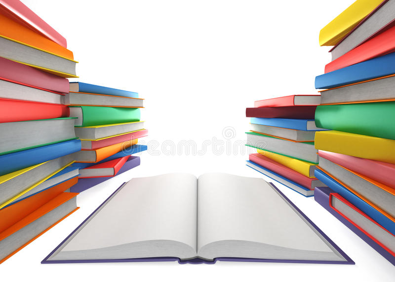 Open book and a stack of books stock illustration