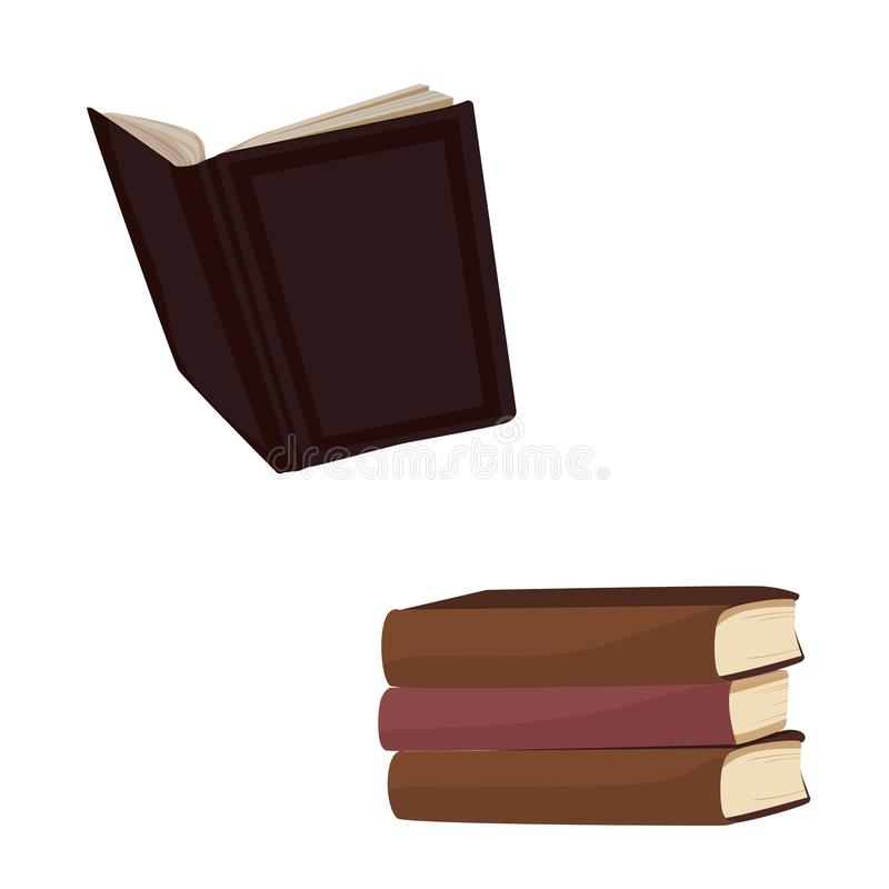 Open book, stack of hardback books stock photography