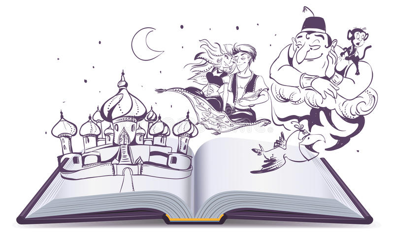 Open book story tale Magic lamp Aladdin. Arab tales Alladin, genie and Princess vector illustration
