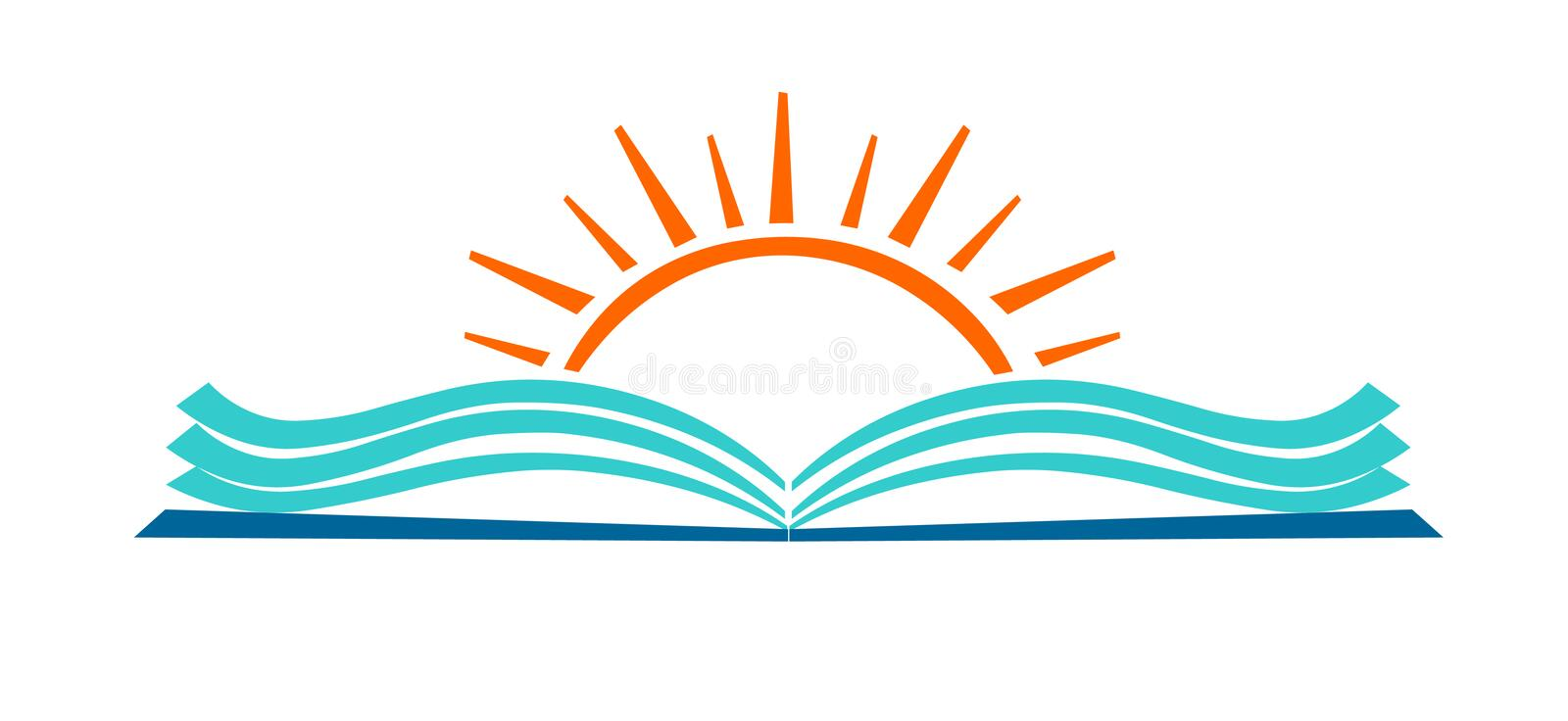 Open book and sun education logo icon. vector illustration