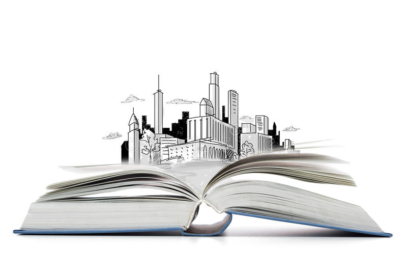 Open book on the table with city sketch. Education and book concept - open book on the table with city sketch stock image