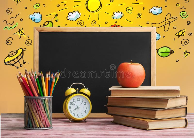 Open book on table with illustration royalty free illustration