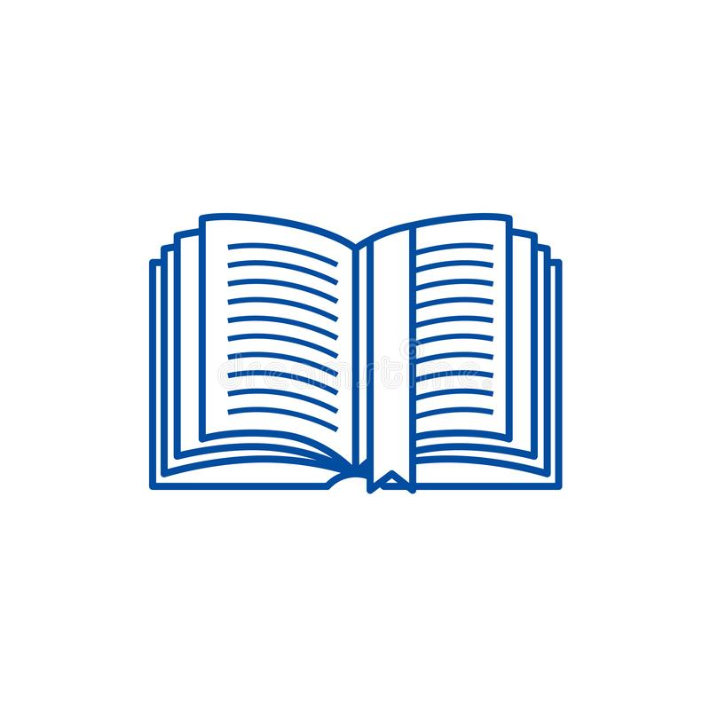 Open book with tag line icon concept. Open book with tag flat  vector symbol, sign, outline illustration. Open book with tag line concept icon. Open book with royalty free illustration