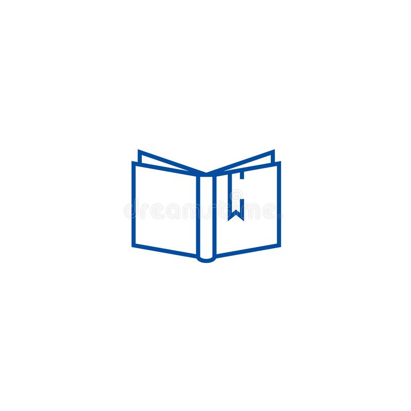 Open book with tag sign line icon concept. Open book with tag sign flat  vector symbol, sign, outline illustration. royalty free illustration