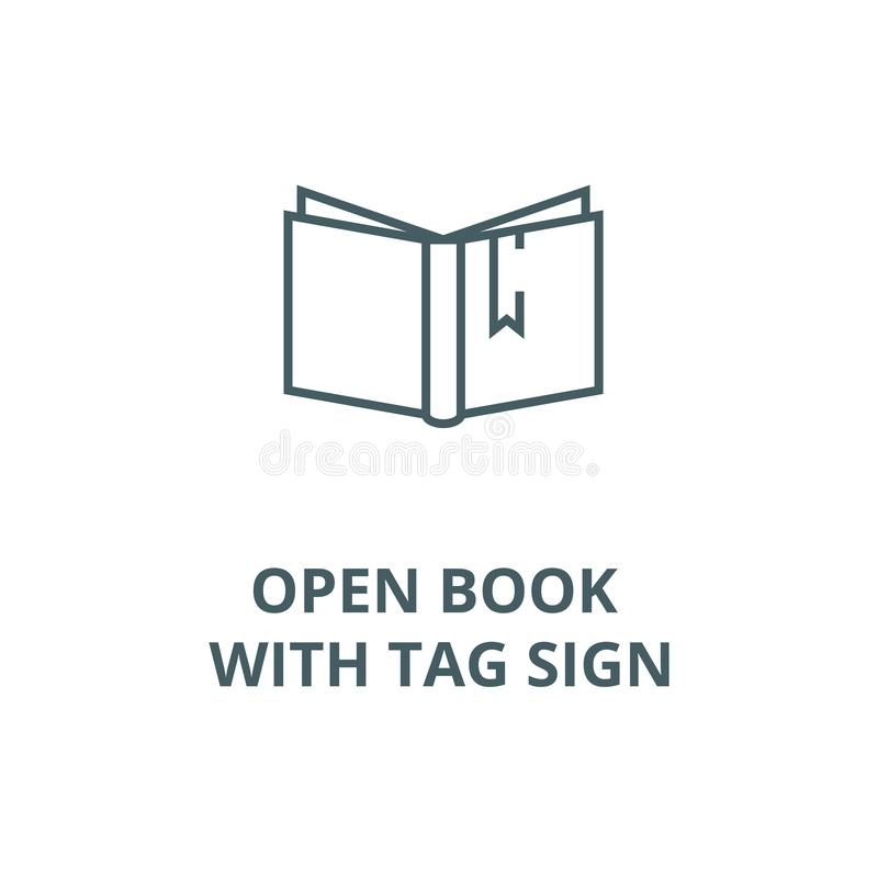 Open book with tag sign vector line icon, linear concept, outline sign, symbol. Open book with tag sign vector line icon, outline concept, linear sign royalty free illustration