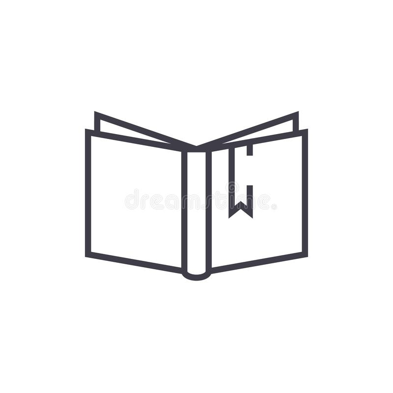 Open book with tag sign vector line icon, sign, illustration on background, editable strokes vector illustration