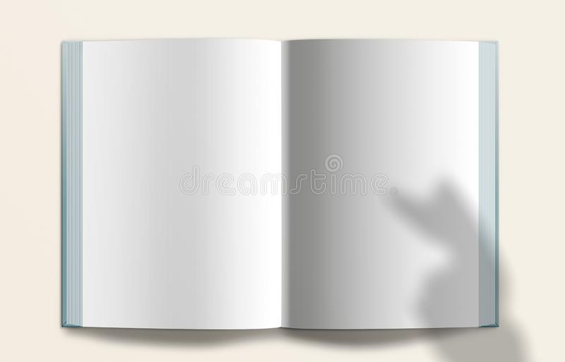 Open Book, Template, Clean, Magazine, Mockup. ecru background. stock photography