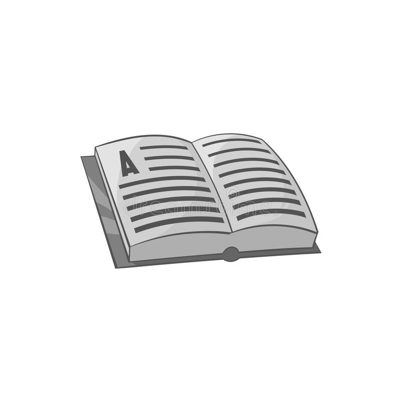 Open book with text icon, black monochrome style stock illustration