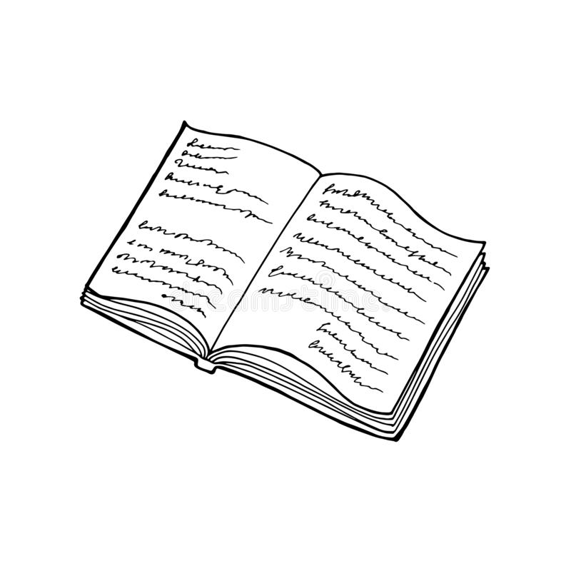 Open book with text icon. Can be used as logo for bookstore or shop, library, educational or learning concept etc. royalty free illustration