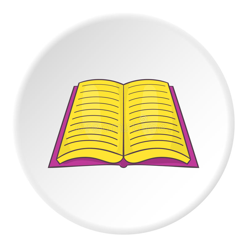 Open book with text icon, cartoon style vector illustration