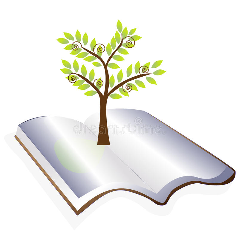 Open book with tree. Logo design vector eps10 royalty free illustration
