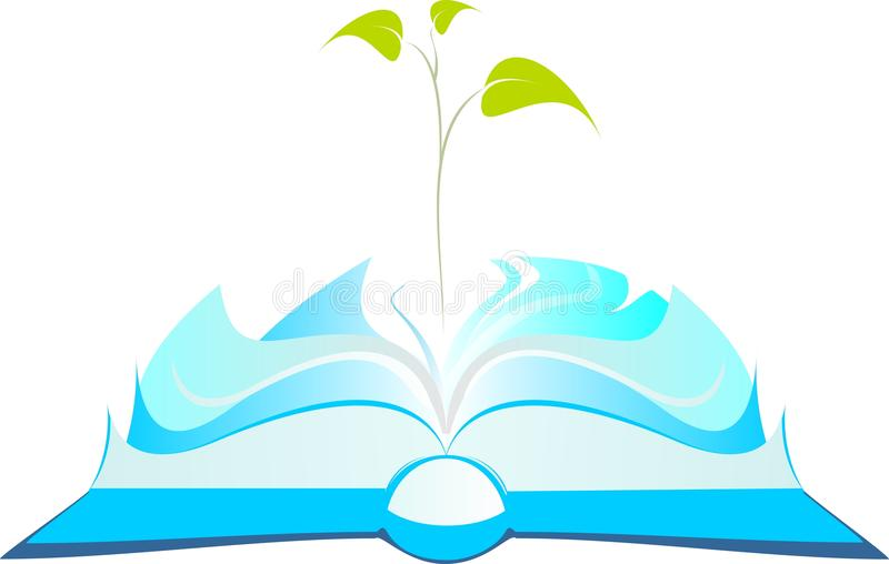 Open book with tree sprout vector illustration