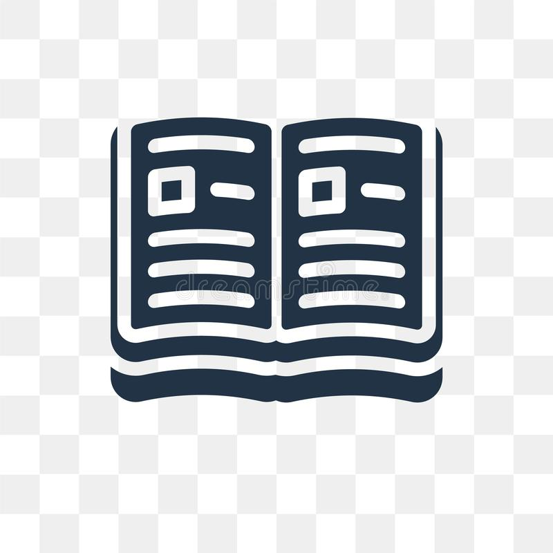 Open book vector icon isolated on transparent background, Open b royalty free illustration