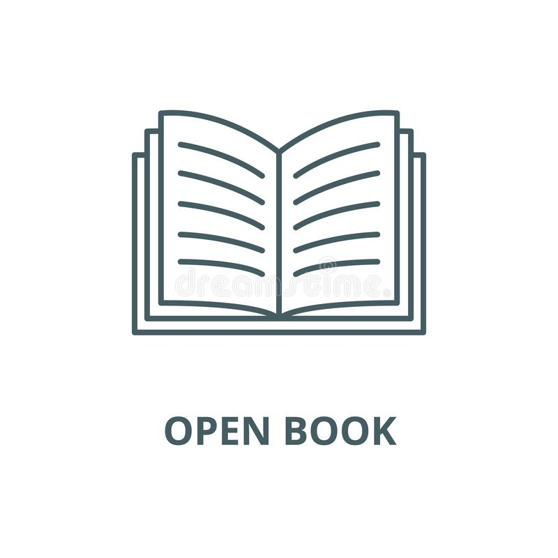 Open book vector line icon, linear concept, outline sign, symbol royalty free illustration