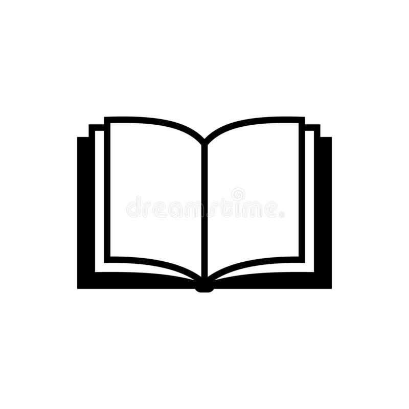 Open book vector simple icon. Black isolated open book icon. royalty free illustration
