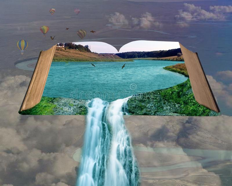 An open book with a waterfall and birds stock photos