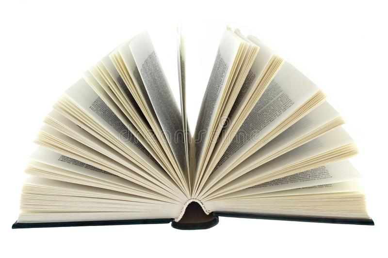 Open book on white background close up stock photo