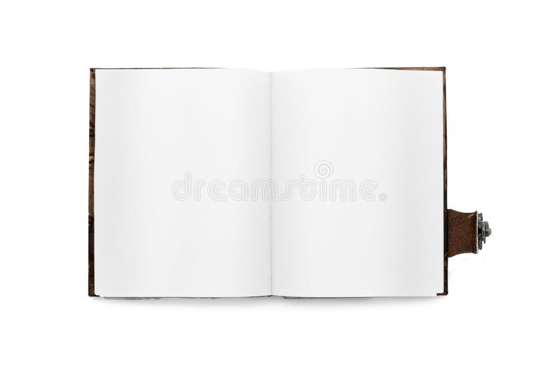 Open book with white pages, with a bookmark. In leather binding with zmkom. Isolated. Vintage Top view stock photos