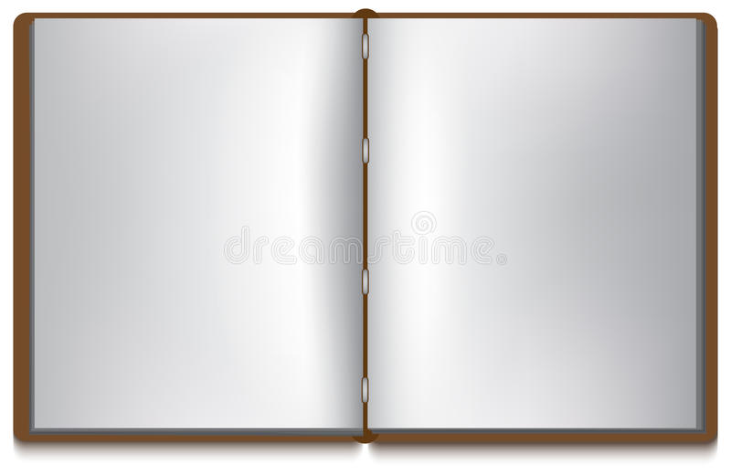White Book Cover Paper : Open book with white pages and brown cover stock