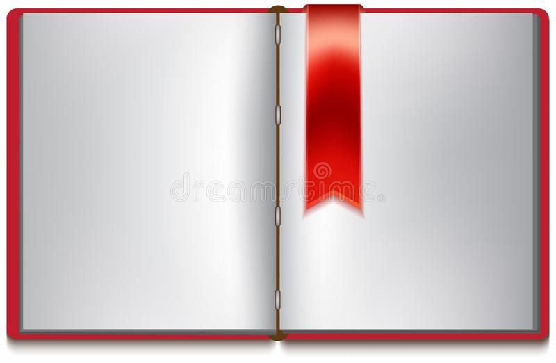 Open book with white pages, red cover and red bookmark stock illustration