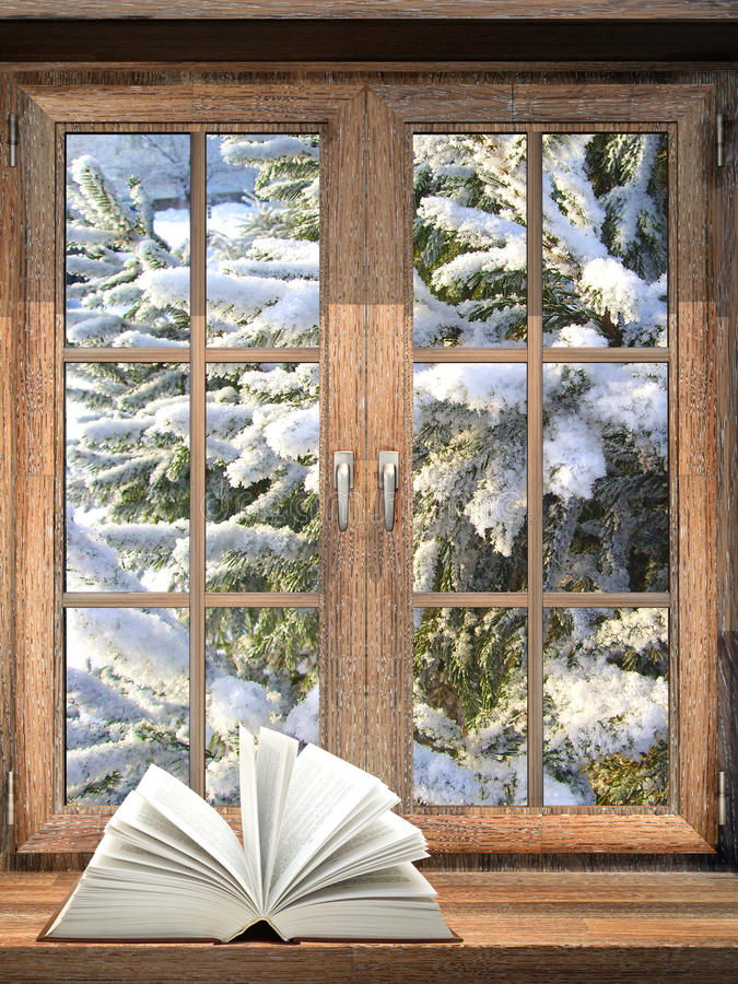 Open book on windowsill vector illustration