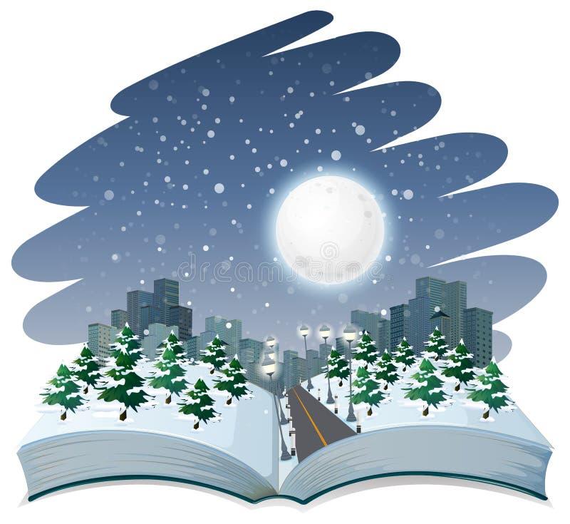 Open book winter night theme. Illustration royalty free illustration