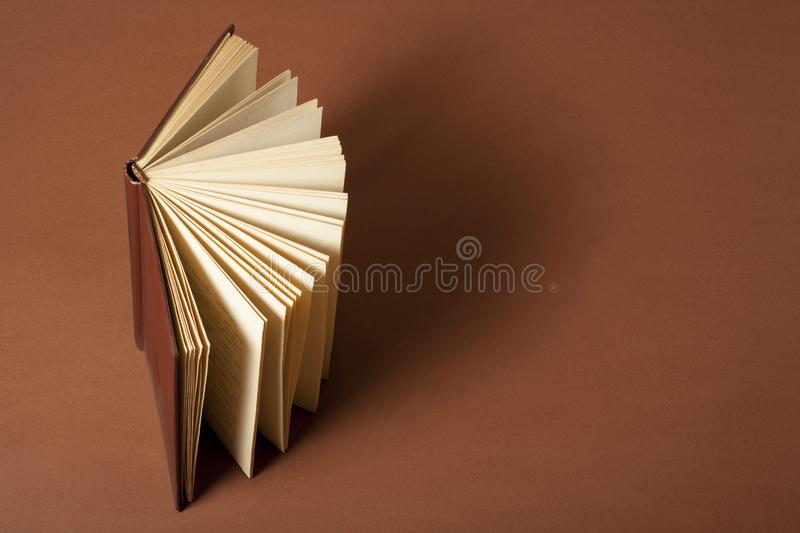 Open book on wooden table. Education background. Back to school.Copy space for text. royalty free stock images