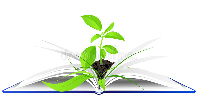 Open book with young green plant royalty free illustration