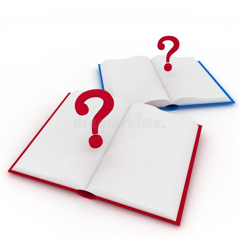 Open Books And A Question Marks Stock Illustration