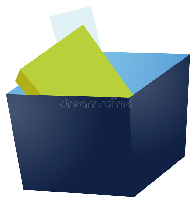Open box. A blue box with index cards inside and one card standing up from the rest stock illustration