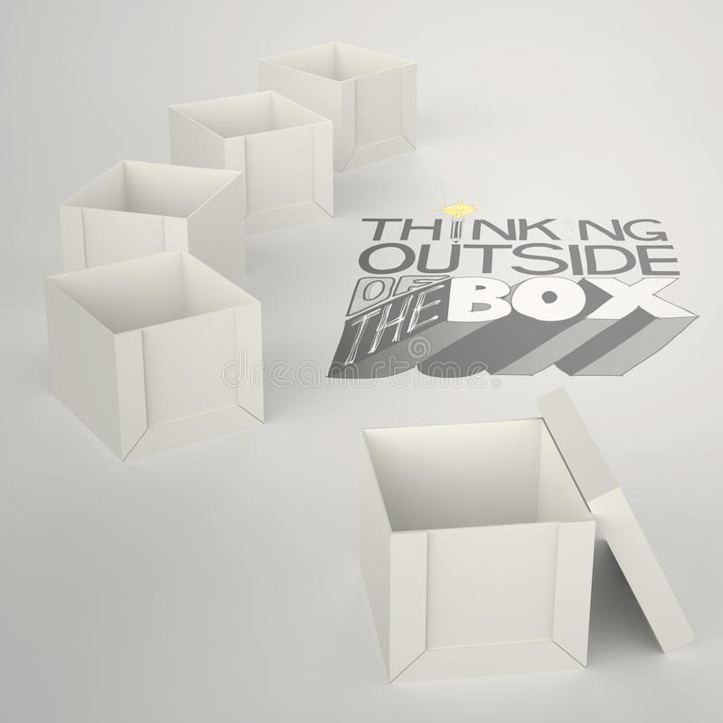 Open box 3d and design word. THINKING OUTSIDE OF THE BOX as concept vector illustration