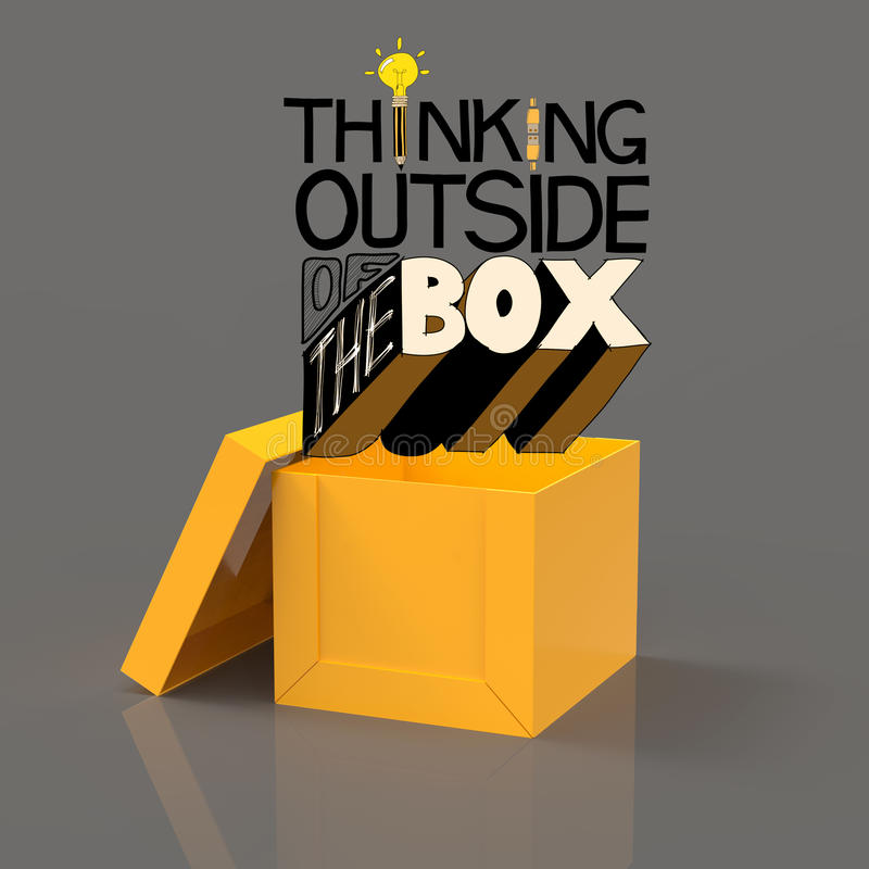 Open box 3d and design word. THINKING OUTSIDE OF THE BOX as concept stock illustration