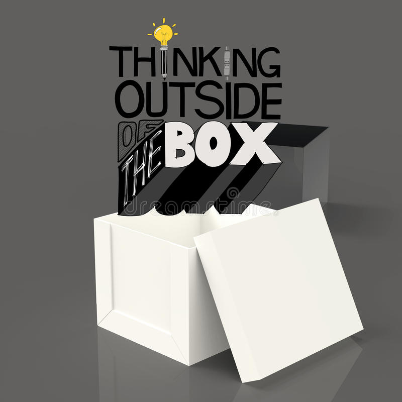 Open box 3d and design word THINKING OUTSIDE OF THE BOX. As concept royalty free illustration