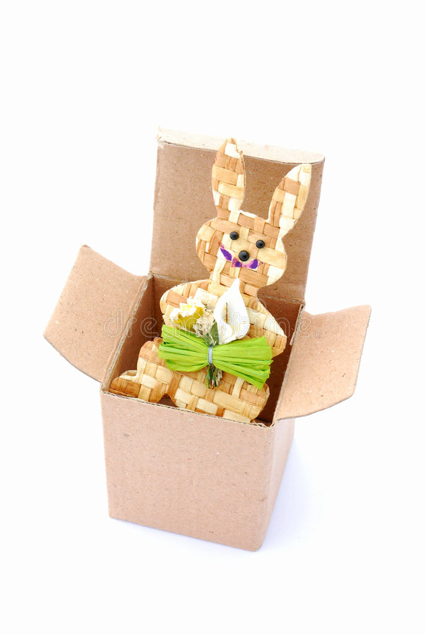 Easter Bunny Ornament in Box stock image