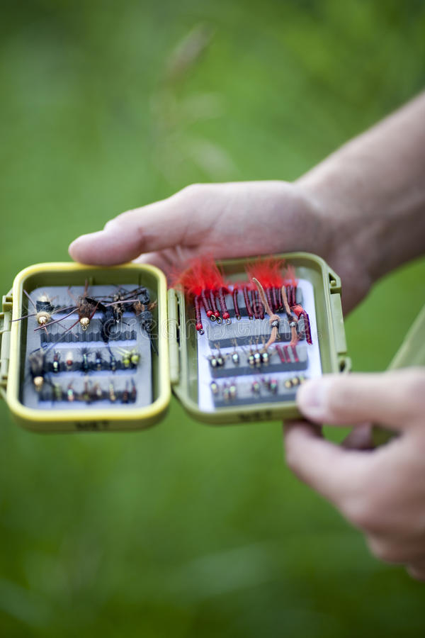 Download An Open Box Of Fishing Flies Stock Image - Image: 14165691