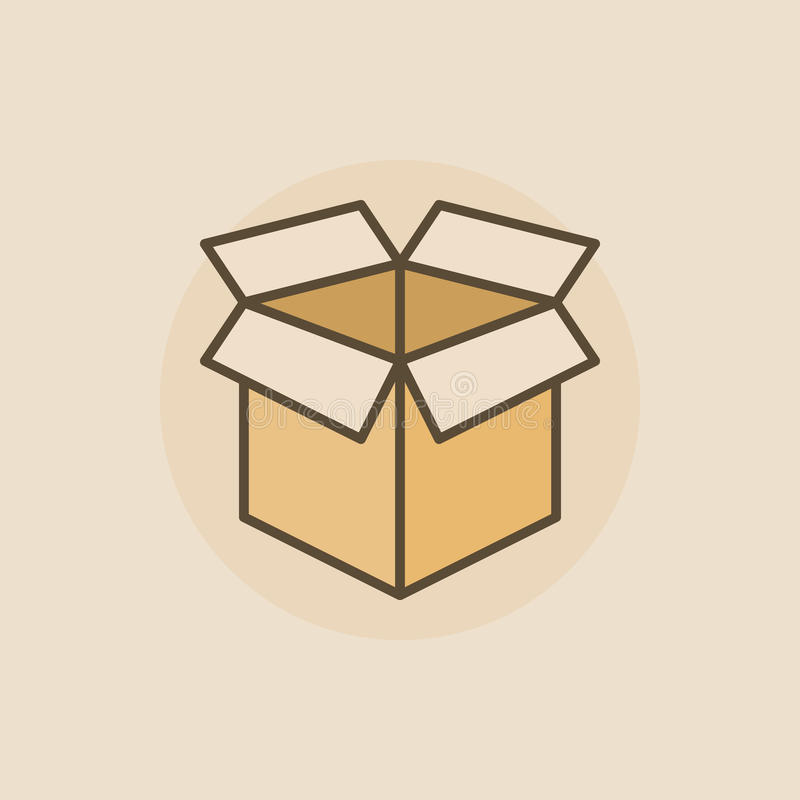 Open box flat icon. Vector colorful box symbol or sign on brown background royalty free illustration