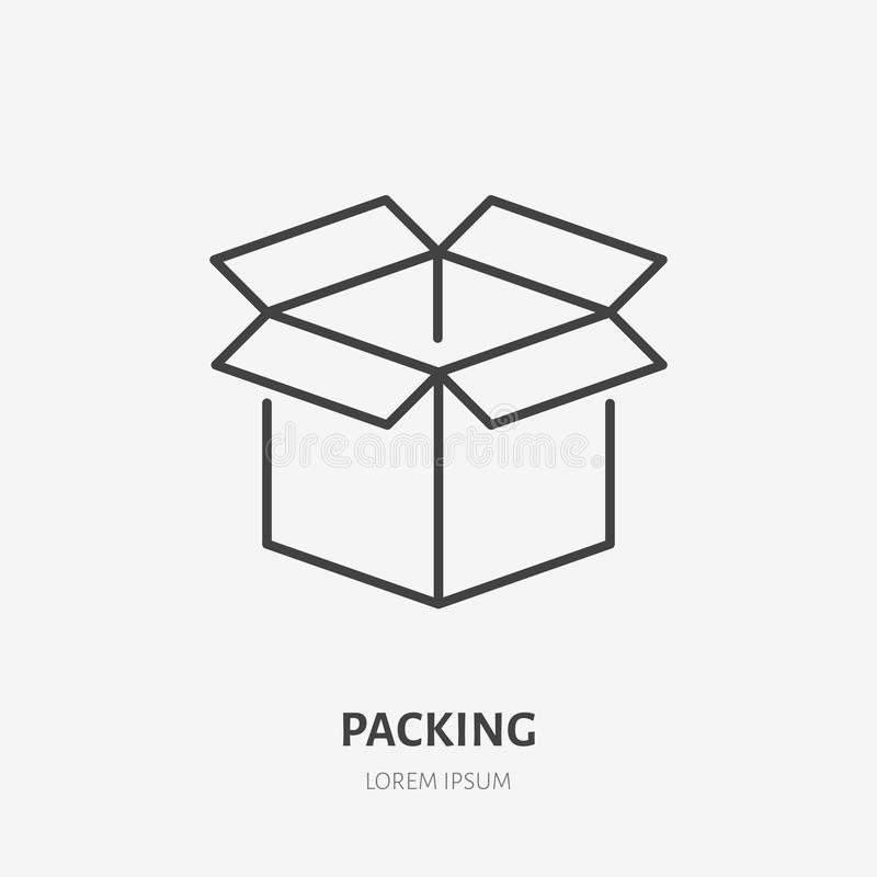 Open box flat line icon. Delivery, packing sign. Thin linear logo for freight services, cargo shipping.  stock illustration