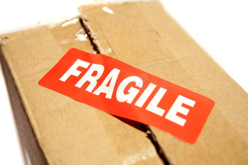 Open box with fragile sticker royalty free stock image