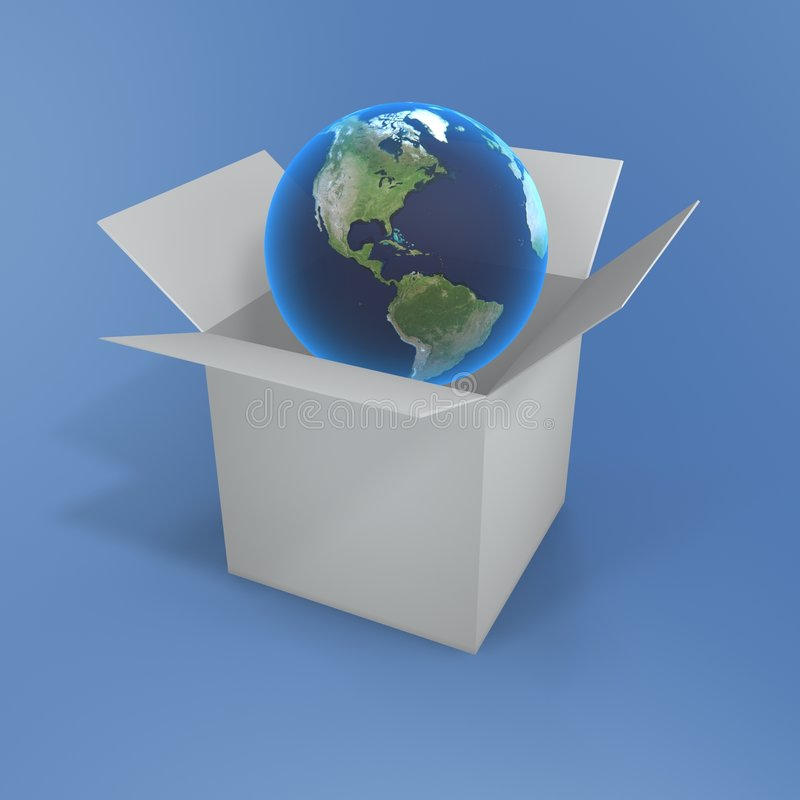 Open Box And Globe Stock Images