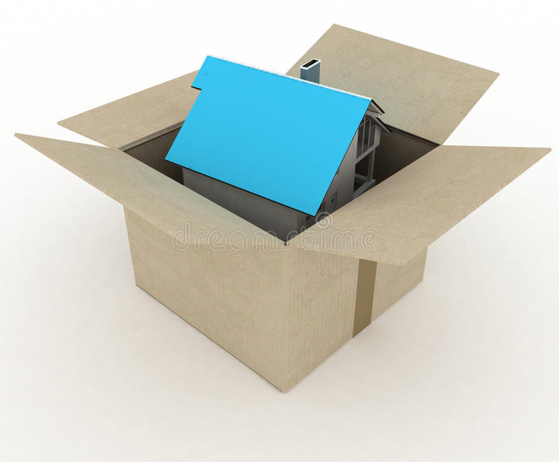 Open box with house inside stock illustration